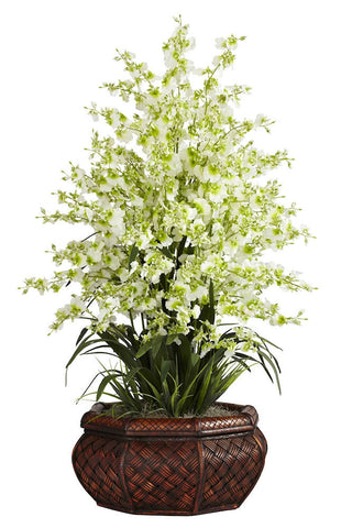 1244-GR Green Silk Oncidium Dancing Lady Orchid 4 colors by Nearly Natural | 3 feet