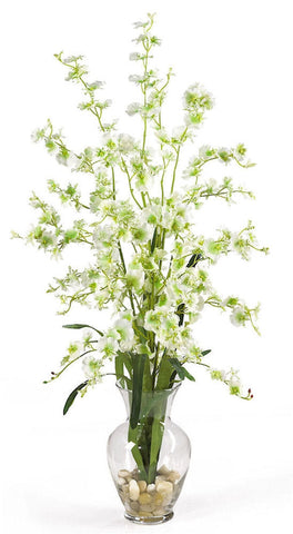 1073-GR Green Oncidium Dancing Lady Silk in Water in 4 colors by Nearly Natural| 31""