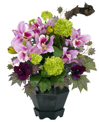 1257 Cattleya & Hydrangea Silk Arrangement by Nearly Natural | 18 inches