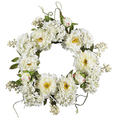 4690 Peony & Hydrangea Artificial Silk Wreath by Nearly Natural | 20 inches