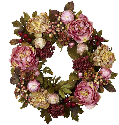 4930 Peony & Hydrangea Artificial Silk Wreath by Nearly Natural | 24 inches