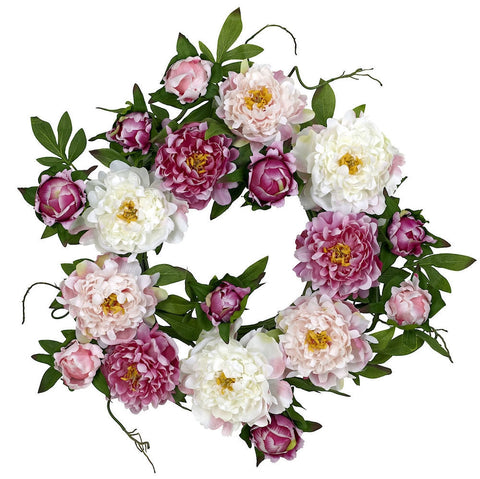 4788 Peony Artificial Silk Wreath by Nearly Natural | 22 inches