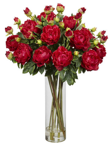 1231-RD Red Giant Silk Peony in Water in 3 colors by Nearly Natural | 38 inches