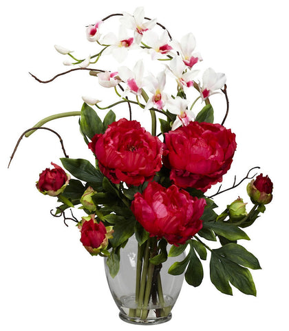 1175-RD Red Peony & Dendrobium Silk in Water in 3 colors by Nearly Natural | 21.5""