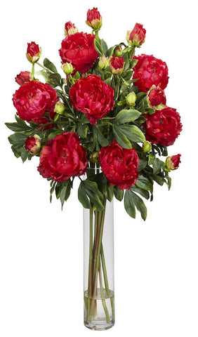 1230-RD Red Peony Silk Flowers in Water in 3 colors by Nearly Natural | 32 inches