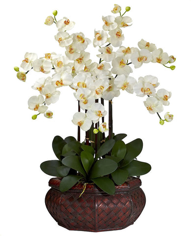 1201-CR Cream Large Phalaenopsis Silk Orchid in 8 colors by Nearly Natural | 30""