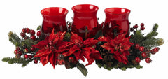 4914 Poinsettia & Berry Silk Candelabrum by Nearly Natural | 30 inches