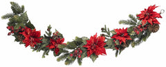 4916 Poinsettia & Berry Silk Holiday Garland by Nearly Natural | 5 feet