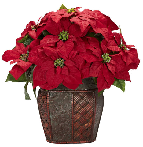 1264 Poinsettia Artificial Silk Holiday Plant by Nearly Natural | 18 inches