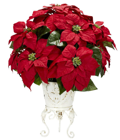 1267 Poinsettia Artificial Silk Holiday Plant by Nearly Natural | 21 inches