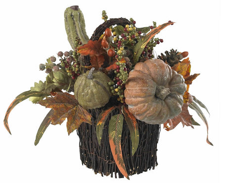 4903 Pumpkin & Berry Silk Autumn Arrangement by Nearly Natural | 15 inches