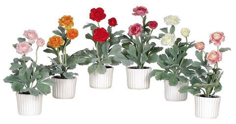 4601 Ranunculus Set of 6 Silk Plants by Nearly Natural | 12 inches