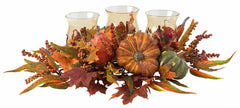 4909 Harvest Silk Triple Candle Candelabrum by Nearly Natural | 30 inches