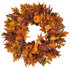 4648 Pumpkin Harvest Artificial Autumn Wreath by Nearly Natural | 28 inches