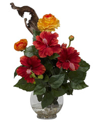 1287 Silk Hibiscus & Ranunculus in Water by Nearly Natural | 16 inches