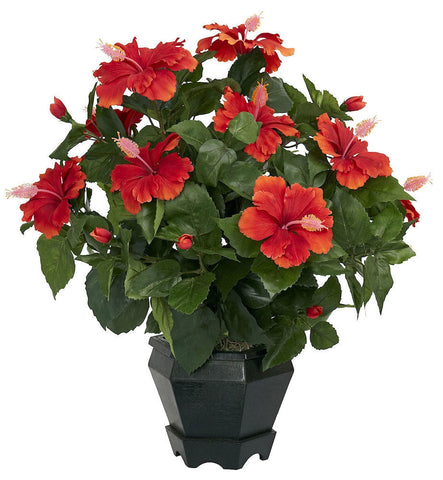 6691 Hibiscus Silk Plant with Black Planter by Nearly Natural | 20 inches