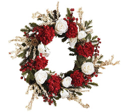 4899 Hydrangea & Rose Silk Holiday Wreath by Nearly Natural | 24 inches