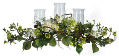 4634-CR Cream Hydrangea Artificial Candelabrum by Nearly Natural | 28.5 inches