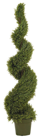 5171 Rosemary Indoor Outdoor Silk Spiral Topiary by Nearly Natural | 5 feet