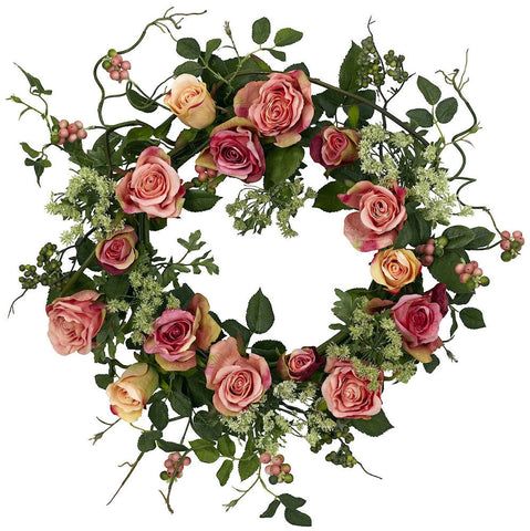 4802 Rose Artificial Silk Wreath by Nearly Natural | 20 inches