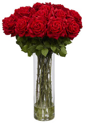 1214 Giant Silk Roses in Faux Water with Vase by Nearly Natural | 31 inches