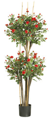 5238 Mini Silk Rose Double Ball Topiary Tree by Nearly Natural | 5 feet