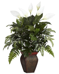 6677 Spathiphyllum & Mixed Greens Silk Plant by Nearly Natural | 29 inches