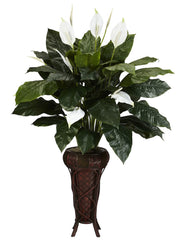 6656 Spathiphyllum Silk Plant with Planter by Nearly Natural | 57 inches
