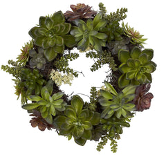 4798 Mixed Succulents Artificial Silk Wreath by Nearly Natural | 20 inches