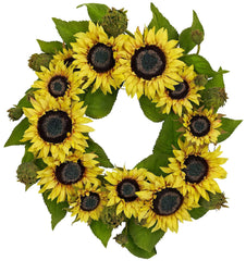 4787 Sunflower Artificial Silk Wreath by Nearly Natural | 22 inches