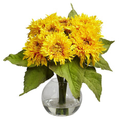 4906 Silk Golden Sunflower in Water with Vase by Nearly Natural | 12 inches