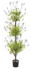 5332 Lavender Silk Triple Ball Topiary Tree by Nearly Natural | 4 feet
