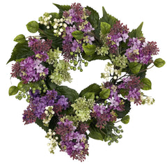 4786 Hanel Lilac Artificial Silk Wreath by Nearly Natural | 20 inches