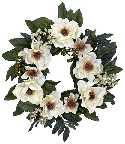 4793 Magnolia Artificial Silk Wreath by Nearly Natural | 22 inches
