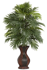 6661 Areca Palm Silk Plant with Hourglass Urn by Nearly Natural | 37 inches