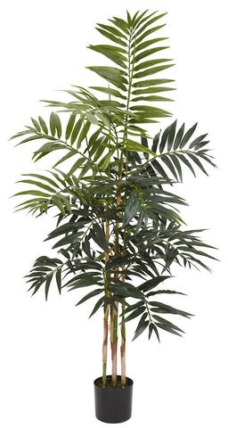 5318 Bamboo Palm Artificial Silk Tree w/Planter by Nearly Natural | 4 feet