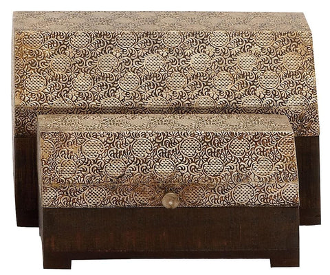 28711 Bronze Textured Metal Foil Wood Octagon Top Storage Chest Set of 2 by Benzara
