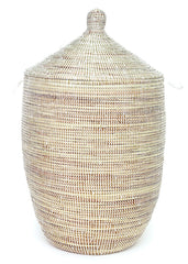 sen11c White Large Traditional Laundry Hamper Storage Basket | Senegal Fair Trade by Swahili Imports