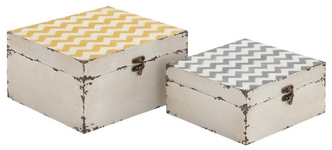 34946 Zig Zag Pattern Wood Vinyl Square Box Set of 2 by Benzara