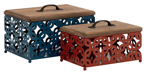 34986 Trellis Design Metal with Wood Lid Rectangular Storage Box Set of 2 by Benzara