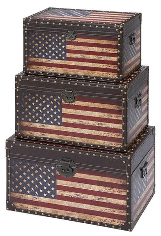 35023 American Flag Faux Leather Wood Rectangular Trunk Set/3 by Benzara