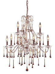 4013/6+3AMB Opulence 9-Light Chandelier 5 Crystal Colors In Rust ELK Lighting