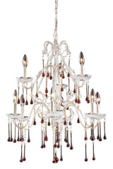 4003/6+3AMB Opulence 9-Light Chandelier 5 Crystal Colors In White ELK Lighting