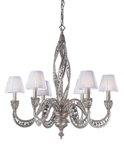 6236/6 Renaissance 6-Light Chandelier in Sunset Silver w/Crystal ELK Lighting