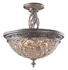 6233/6 Renaissance 6-Light Semi Flush in Sunset Silver w/Crystal ELK Lighting