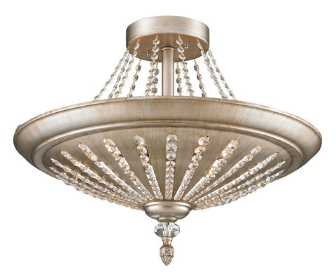 11360/9 Renee 9-Light Semi Flush in Aged Silver with Crystal ELK Lighting