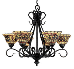 366-VA Tiffany Buckingham 6-LT Chandelier Vintage Antique ELK Lighting