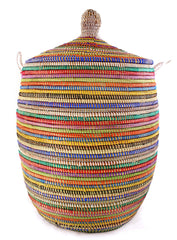 sen11t Rainbow Stripe Large Traditional Laundry Hamper Storage Basket | Senegal Fair Trade by Swahili Imports