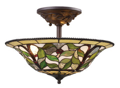 08015-TBH Latham 3-Light Tiffany-Style Semi Flush in Tiffany Bronze ELK Lighting