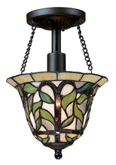 70114-1 Latham 1-Light Tiffany-Style Semi Flush in Tiffany Bronze ELK Lighting